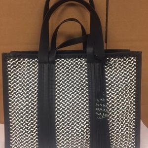 Vince Camuto Indra Large Woven Black Tote